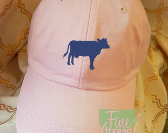 Kids or Adult Ladies Size Cow Mini Design Baseball Cap Hat Leather Strap Beach hat Vacation Farm Heifer Livestock Show Rodeo Calf Milk Cow