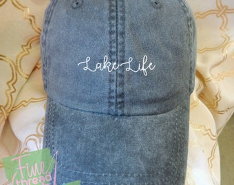 LADIES Lake Life Hat with Side Monogram Baseball Cap LEATHER strap Pigment Dyed Summer Beach Vacation Cruise Travel Custom Trip Fishing