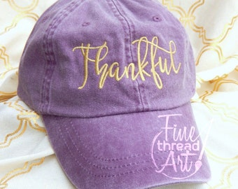 LADIES Thankful Baseball Cap Hat LEATHER strap Mom Bridesmaid Bride Bachelorette Pigment Dyed Grateful Blessed
