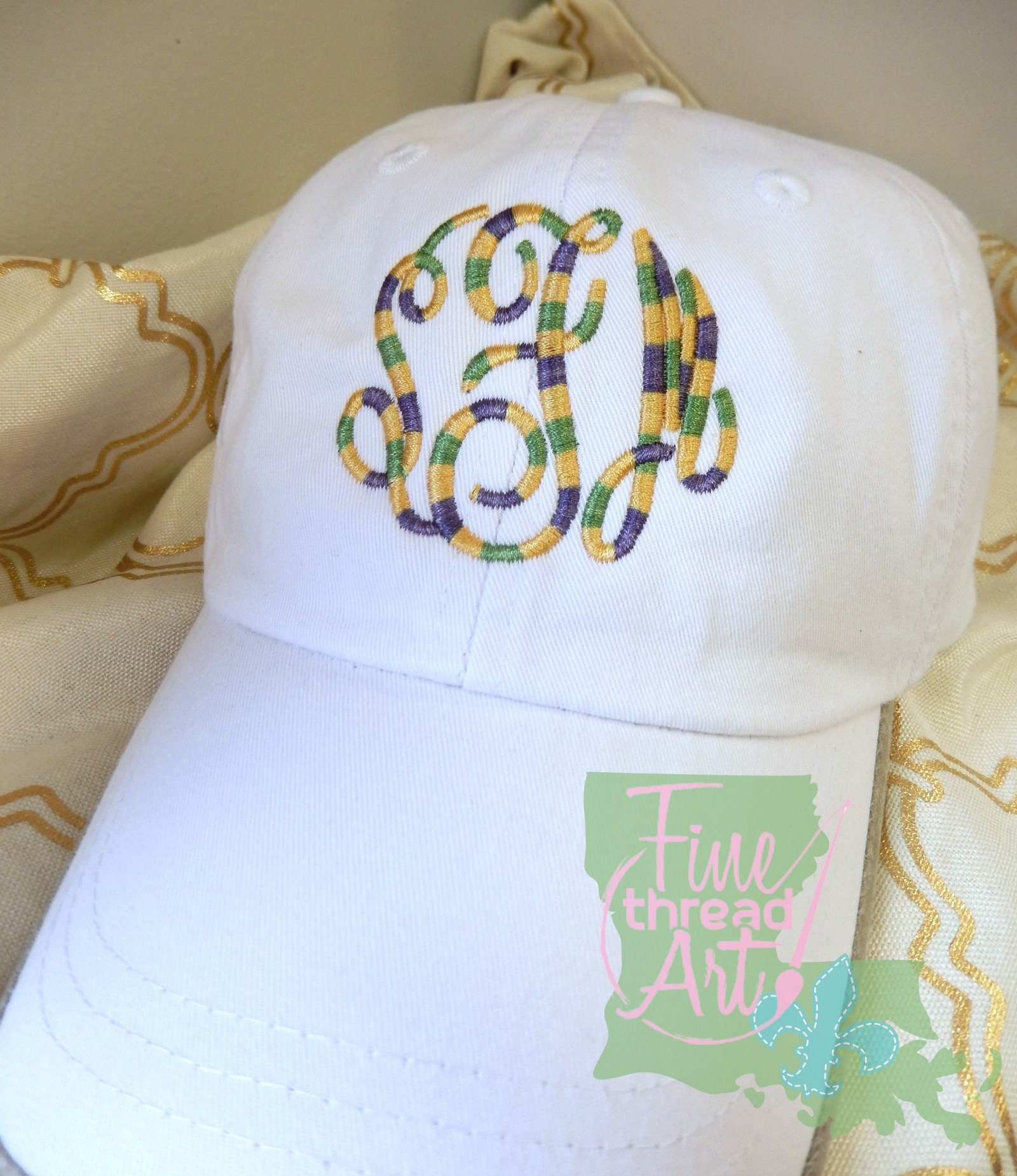 15720cee7d53d Adult or Kids Mardi Gras Monogram Baseball Cap Hat LEATHER strap ...