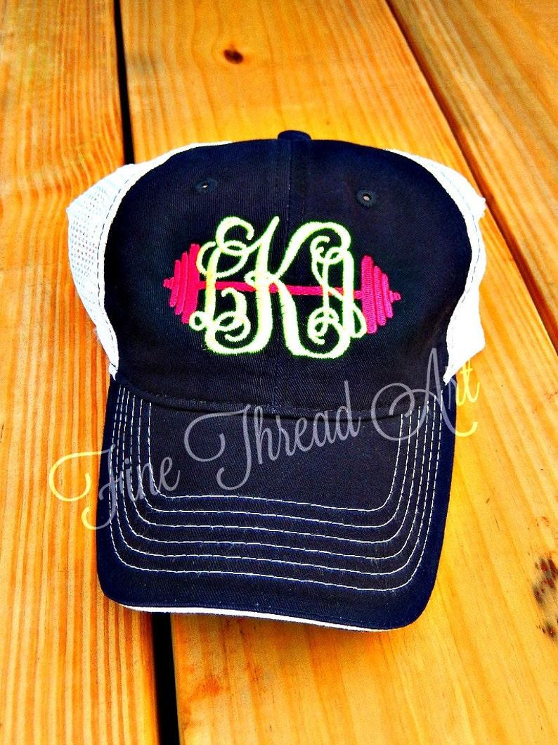 4fba3008916ce LADIES Barbell Monogram Mesh Back Baseball Cap Hat Mom
