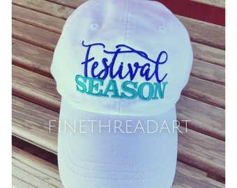 Adult Size Festival Season with or without Side Monogram Baseball Cap Hat LEATHER strap Louisiana Festivals Unisex Ladies or Men
