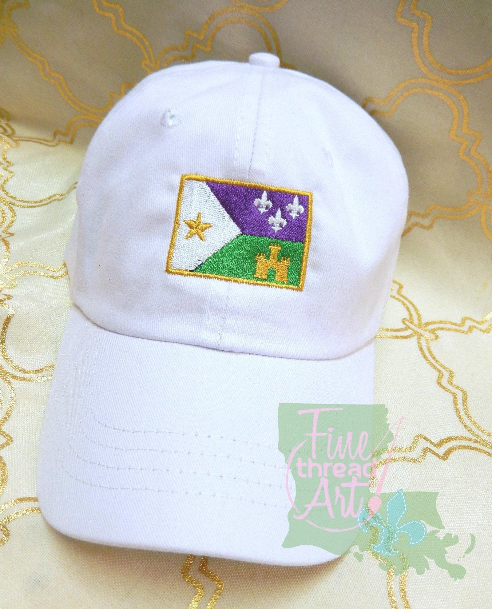 13a4fdea39757 Adult or Kids Mardi Gras Acadian Flag Baseball Cap Hat LEATHER ...