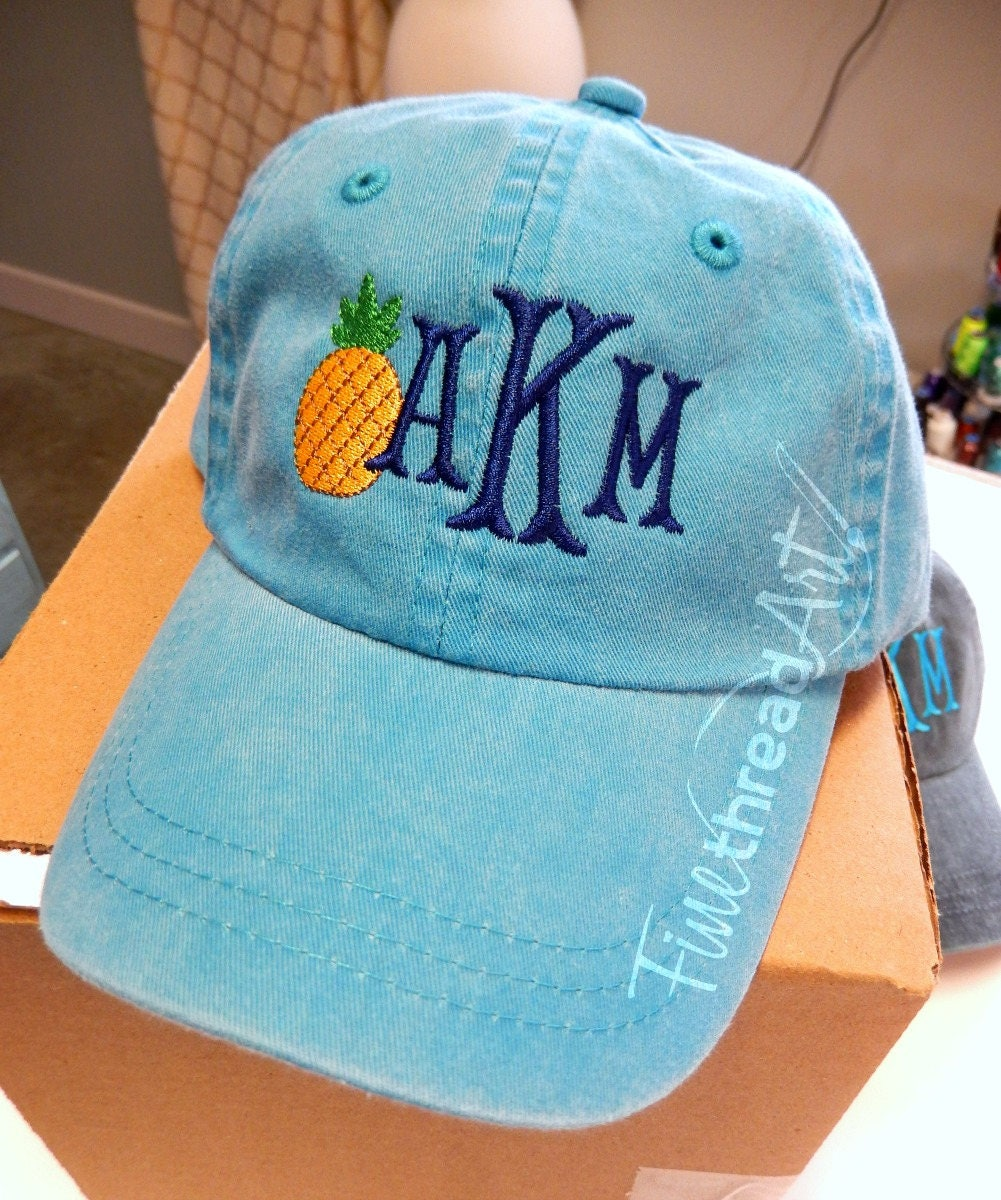 05512fd4edf KIDS Pineapple Monogram Baseball Cap Hat LEATHER strap Girl ...
