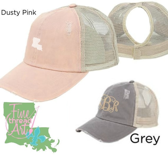 LADIES High Ponytail Hat Dusty Pink or Grey Distressed Trucker  af9e48964c6