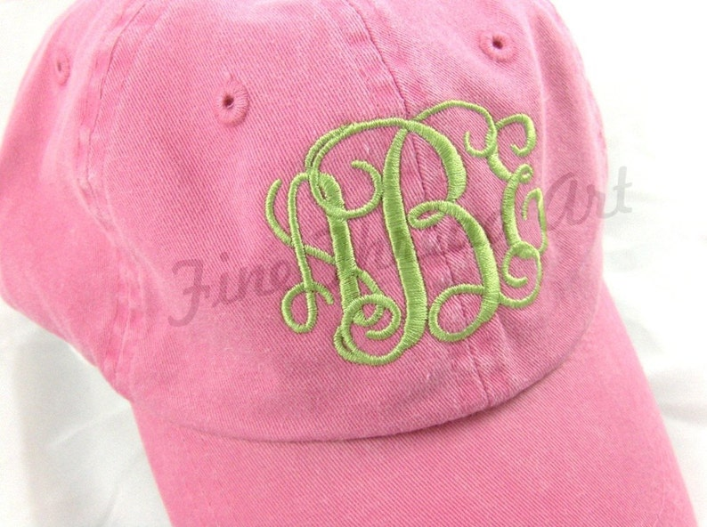 45fabe7e4ed KIDS Monogram Baseball Cap Hat for Girls Boys Youth Size Name