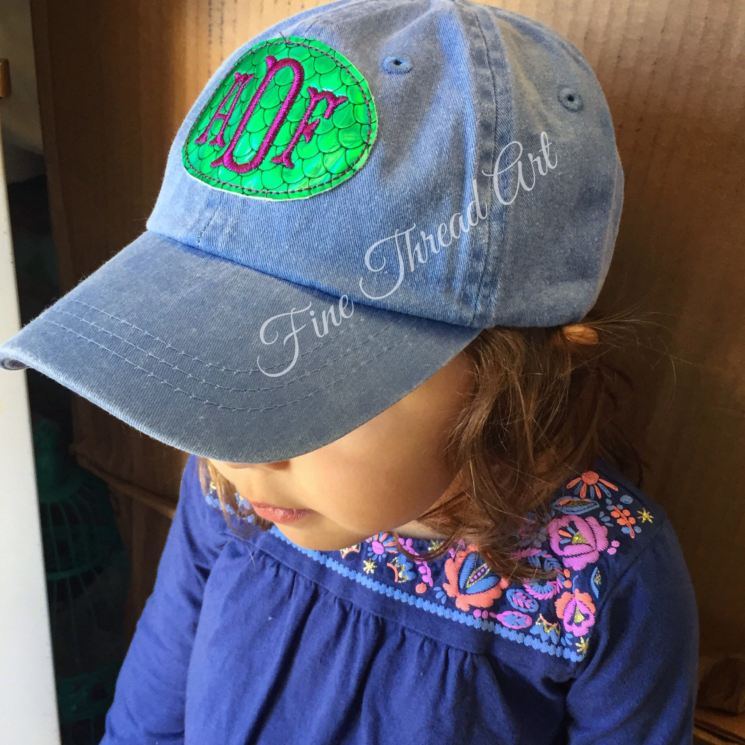 fb64a1d025c KIDS Mermaid Scale Monogram Baseball Cap Hat Girl Youth Size