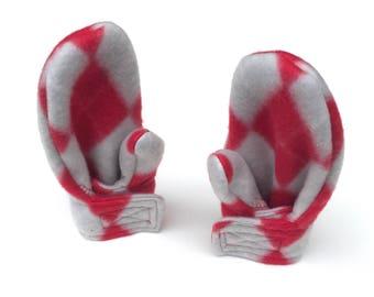 Toddler Girl Mittens -  Scarlet and Gray Argyle - Toddler Mittens -  Fleece Wrap Mittens