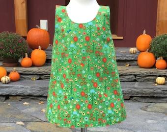 Baby Girl Dress - Green - Baby Dress - Autumn Dress - Toddler Dress - Reversible Dress