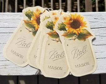 8 Sunflower and Mason Jar Shaped Tags, Paper, Wedding, Party, Birthday, Gift Wrap, Favor