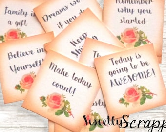 14 Mini Quote Cards ... Small / Planner / Journal Prompts/ Shabby / Rose / Quotes / Words of Inspiration / Square / Goodies / Scrapbooking