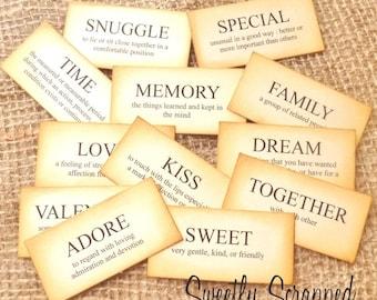 SWEET Definition Flash Cards, Scrapbooking, Cardmaking, Vintage Inspired, Aged