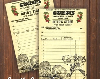 DOWNLOAD Vintage Grocery Receipts... Strawberries/ Fruit Stand/ Market/ Ephemera/ Digital Download Print/ Ephemera Cards / Strawberry / DIY