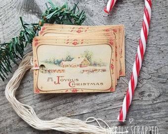 Christmas Tags, Joyous Christmas, Vintage Christmas Tags, Christmas Gift, Vintage Christmas, Christmas, White Christmas, Gift Tags, DIY Gift