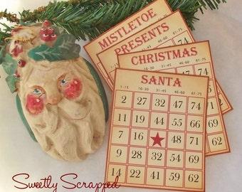 SALE Vintage Christmas Bingo Cards, Set of 4