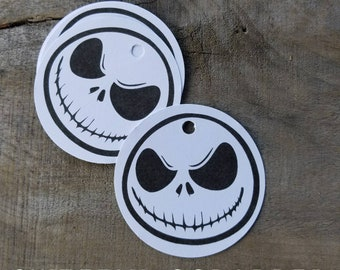 8 Large Nightmare Before Christmas Tags, Jack Skellington, 2 3/4 inches