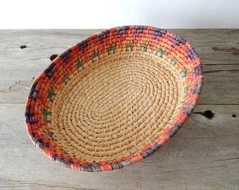 woven basket  vintage decorative storage basket  rustic southwestern decor  boho home decor
