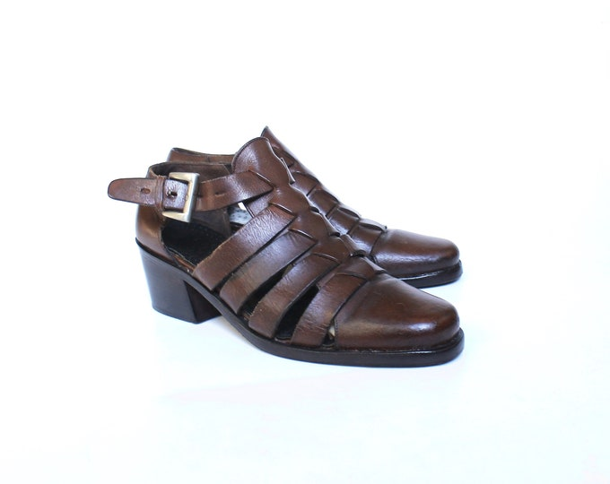 Vintage Leather Strappy Ankle Boots // Womens Dark Brown Mid Block Heel Ankle Buckle Booties // US Shoe Size 7 // EU 37