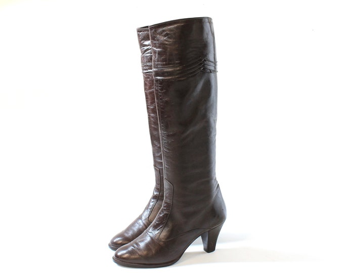 1970s Barefoot Originals Tall Leather Heeled Boots // 70s Vintage Mid Heel Knee High Dark Brown Womens Shoes // US Size 5 // EU Size 35