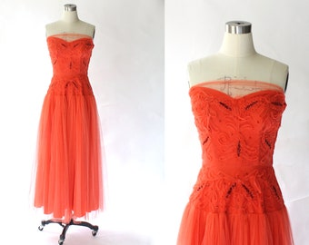 730a44266b 1950s Strapless Coral Tulle Full Skirt Party Dress    50s Vintage  Embellished Drop Waist Ankle Length Evening Gown    Prom Dress    Small