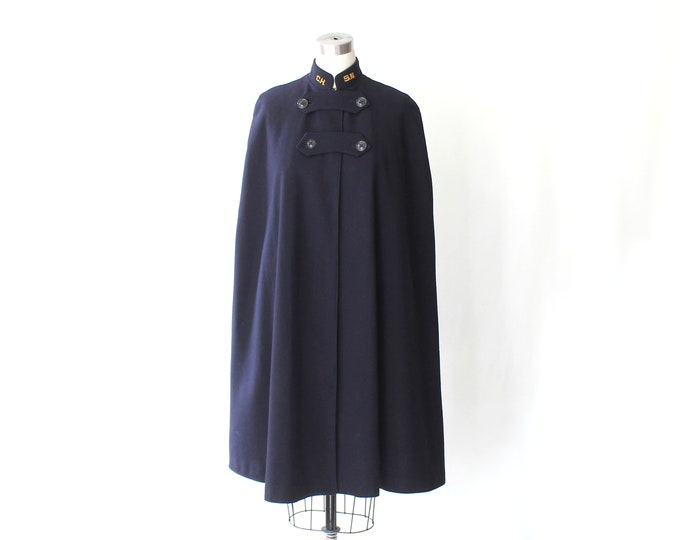 1940s WW11 Navy Wool Nurses Cape // 40s Vintage Bruck Curtis Collared Knee Length Military Uniform Cape Coat // Medium - Large