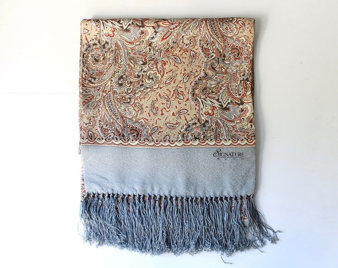 Vintage Paisley Silk Scarf with Fringe // Womens Scarves // Echo Signature Long Printed Pastel Wrap