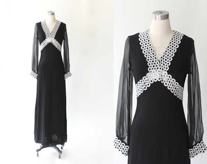 1960s Embellished Sheer Sleeve Maxi Dress  // 60s Vintage Full Length Empire Waist Knit Evening Gown // Medium