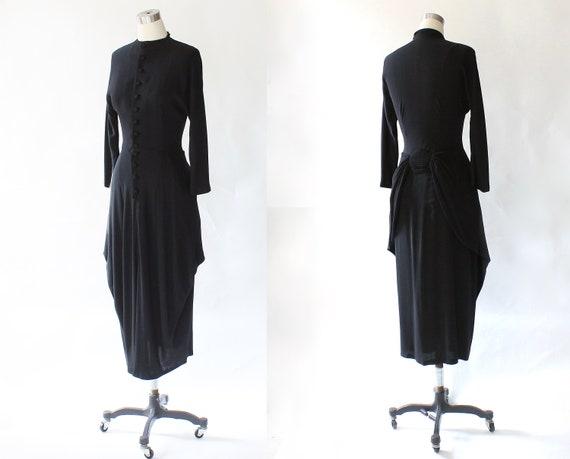1930s Crepe Draped Skirt Dress 30s Vintage Rayon High Neck Button Down Midi Dress Small
