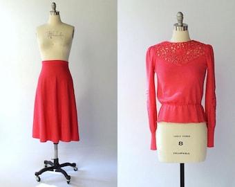 SALE //1970s Oscar de la Renta Wool Peplum Sweater and Skirt Set // 70s Vintage Matching Knit Skirt and Top Outfit // Medium - Large