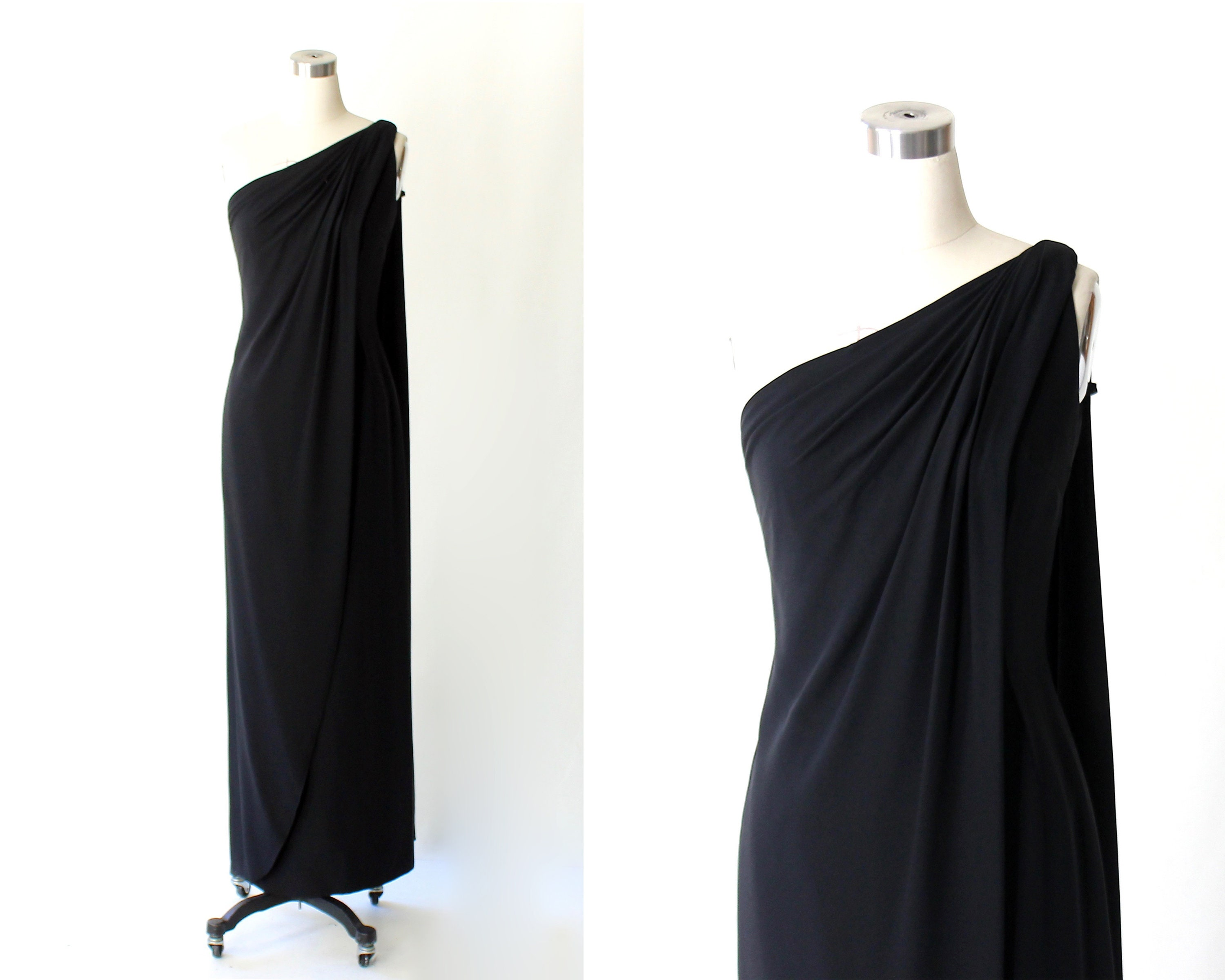 1950s Saks Fifth Avenue One Shoulder Draped Grecian Evening Gown ...