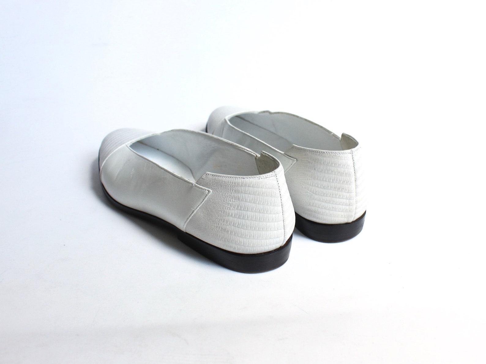 vintage lanvin ballet flats // 1980s designer shoes // embossed white leather slip on flats // womens size 6.5