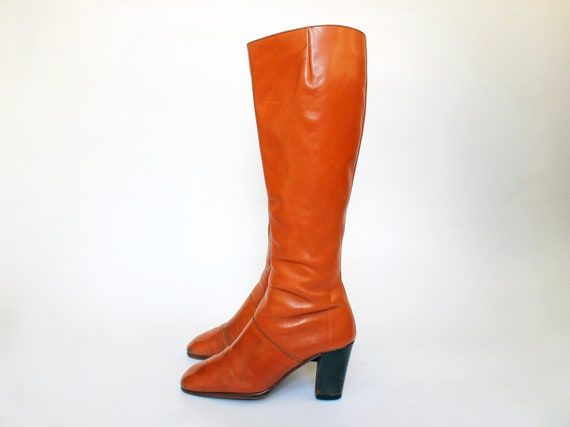 Size 36 5 Vintage Bandalino Cognac High 6 1970s Eu Leather Womens Stacked 5 Boots 70s Heel Tall oCWdxeQrB