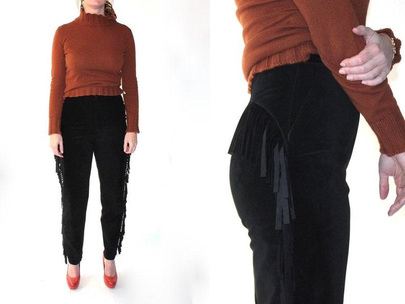 61ec6174 YSL Suede Fringe Pants // High Waisted Black Leather Yves Saint Laurent  Rive Gauche Designer Vintage Pants // Size 40 // US 8