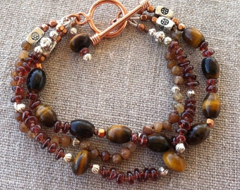 Bracelet- Golden Tiger Eye, Red Garnet, Hessonite Garnet, Copper and Silver Triple Strand Bracelet