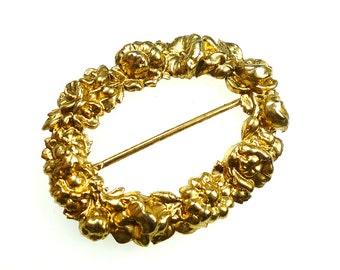 Vintage belt buckle gold tone brass