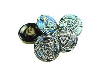 5 small metallic blue glass buttons