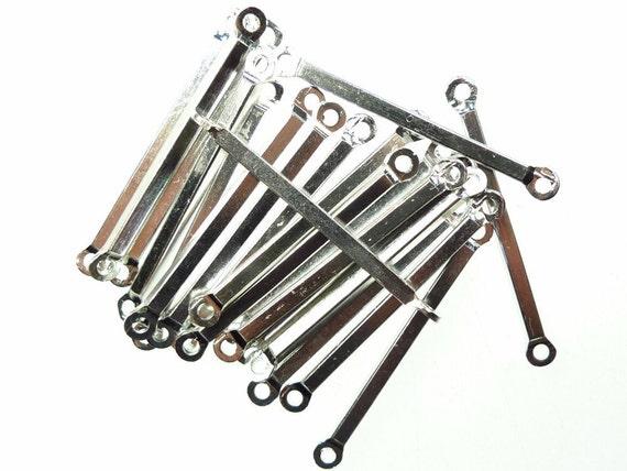 10 Silver Metal Bar Connectors 40mm x 3mm CHS0340