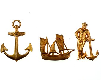 Raw brass stampings maritime motifs 3pcs