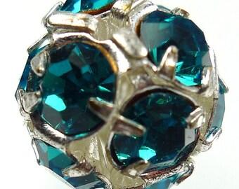 2 Rhinestone balls, 12mm blue zircon beads silver tone