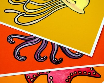 Undersea Creature Art - Set of Three (Starfish, Jellyfish, and Octopus) Kid Art Prints