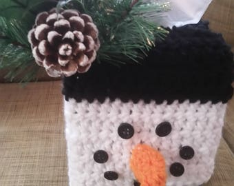 Snowman Tissue Box Cover- snowman, winter, gifting, Christmas, snow, cover, handmade, home decor