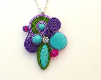 Turquoise Pendant, Soutache Necklace, Asymmetrical,  Small Soutache Pendant, Purple, Crimson, Bright, Soutache, Boho, Modern, Fabric