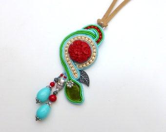 Bright Soutache Necklace, Soutache Pendant, Bright, Red, Beige, Turquoise, Silver, Colorful, Long Necklace, Asymmetrical, Leaf Flowers