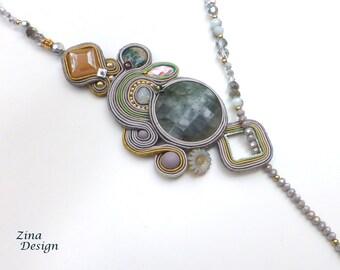 Asymmetrical Necklace, Soutache Necklace, Lariat, Beige, Gray, Light Green, Soutache, Y Neclace, Statement, Dressy, Oval, Gray Agate Stone