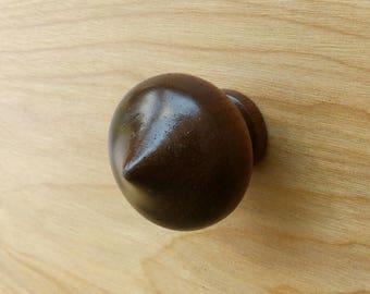 Round Spade Shape Walnut Wood Cabinet Knob
