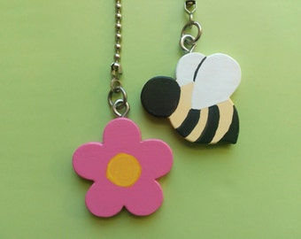 Bumble Bee and Flower Ceiling Fan Pull Chain Set