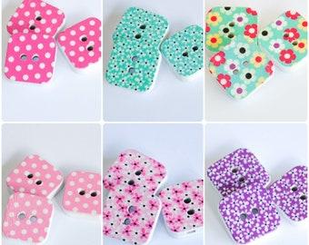 50Pcs Flamingo Wood Button No Holes Apparel Sewing DIY Craft 35 x 16mm