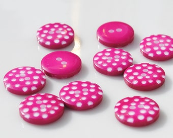 Hot Pink Polka Dot Buttons - Pack of 10