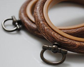 2 Flexi Hoops Wood Effect  - 4 inch - Flexible Plastic Embroidery Hoop