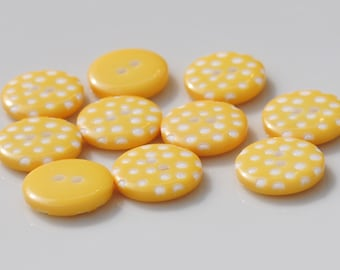 Yellow Polka Dot Buttons - Pack of 10